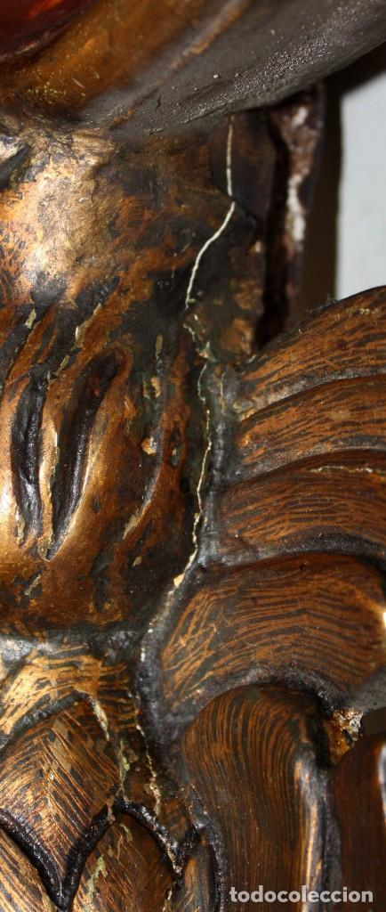 Antigüedades: TRABAJADA CORNUCOPIA EN MADERA POLICROMADA DE MEDIADOS DEL SIGLO XX. GRAN TAMAÑO - Foto 17 - 208915782
