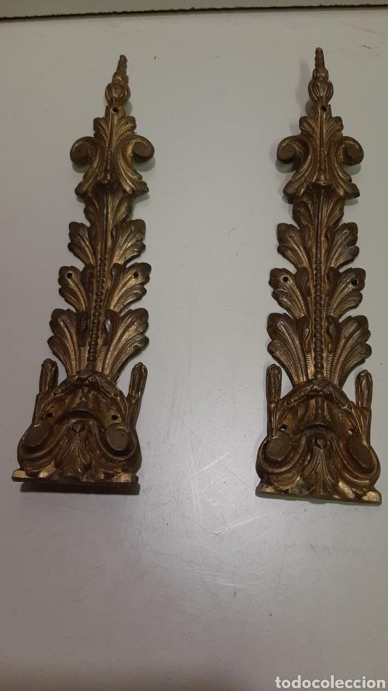 Antigüedades: 7 piezas de bronce para decoración de muebles o lámparas, lo que se desee. Antiguas, bonita pátina. - Foto 4 - 208975598