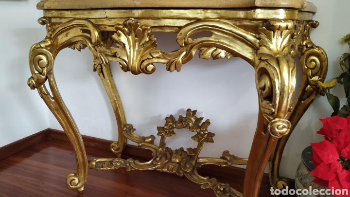 Antigüedades: Mueble antiguo. Consola dorada Isabelina. - Foto 8 - 80050653