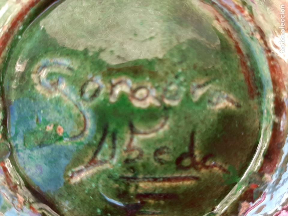 Antigüedades: ORIGINAL PLATO DECORATIVO DE CERÁMICA VERDE ESMALTADA ALFARERÍA POPULAR DE ÚBEDA-JAÉN.TALLER GÓNGORA - Foto 5 - 209037122