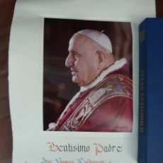 Antigüedades: BENDICION APOSTOLICA, PAPA JUAN XXIII. DUCUMENTO 49X29, AÑO 1963, EN ESTUCHE ORIGINAL, Y FLAMANTE. Lote 209055900