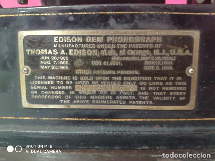 Antigüedades: FONÓGRAFO EDISON MODELO GEM - XXX 140 - Foto 18 - 42978820