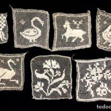 Antigüedades: 7 APLICACIONES ANTIGUAS DE ENCAJE DE RED ANIMALES Y FLORES. Lote 209096913