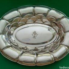 Antigüedades: BANDEJA OVALADA DE PLATA DE LEY CON MARCAS.. Lote 209103250