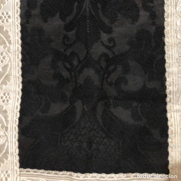 Antigüedades: Dalmatica de brocado de plata y damasco negro francesa siglo XIX - Foto 6 - 209106988