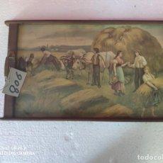 Antigüedades: BANDEJA MADERA DECORACIÓN MOTIVOS DE CAMPO - XXX 806. Lote 43779657