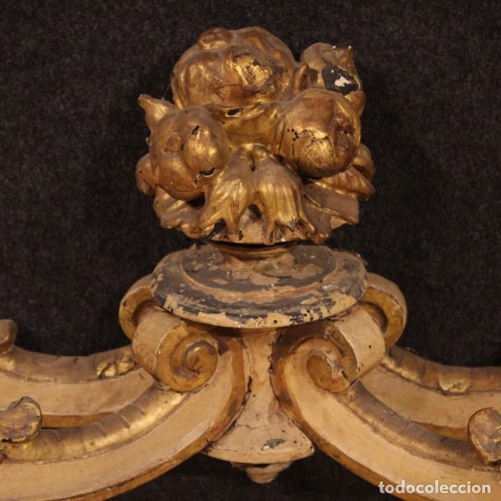 Antigüedades: Consola italiana lacada y dorada con encimera de mármol - Foto 6 - 209115543
