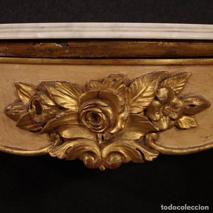 Antigüedades: Consola italiana lacada y dorada con encimera de mármol - Foto 7 - 209115543