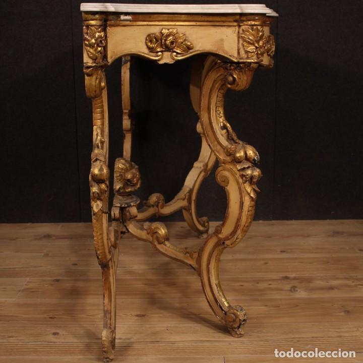 Antigüedades: Consola italiana lacada y dorada con encimera de mármol - Foto 8 - 209115543