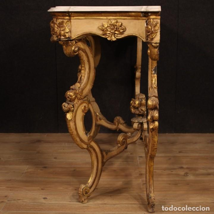 Antigüedades: Consola italiana lacada y dorada con encimera de mármol - Foto 10 - 209115543