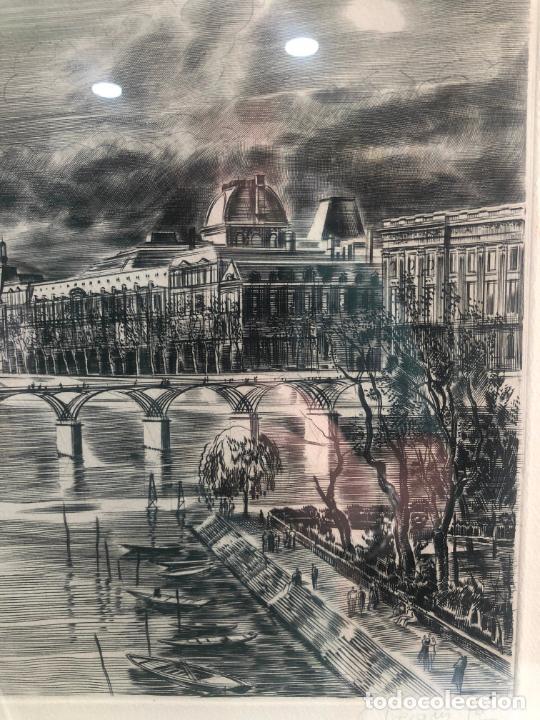 Antigüedades: PRECIOSO GRABADO PAISAJE DE PARIS - MARCO DE MADERA Y DORADO CON MEDIDAS 67X51 CM - Foto 8 - 209127975