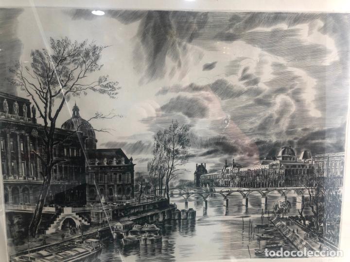 Antigüedades: PRECIOSO GRABADO PAISAJE DE PARIS - MARCO DE MADERA Y DORADO CON MEDIDAS 67X51 CM - Foto 12 - 209127975