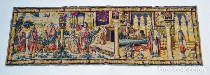 ANTIGUO TAPIZ ESCENA ORIENTAL 146 X 48 CM (Antigüedades - Hogar y Decoración - Tapices Antiguos)
