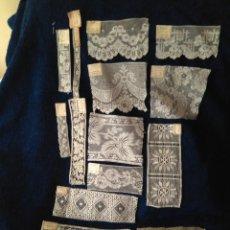 Antigüedades: LOTE DE ANTIGUAS MUESTRAS DE ENCAJES VARIOS. Lote 209165615