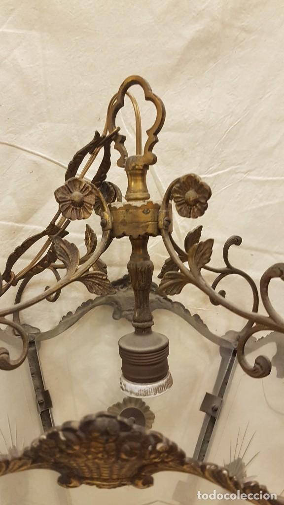 Antigüedades: FAROL TECHO CRISTAL Y METAL - Foto 3 - 209198787