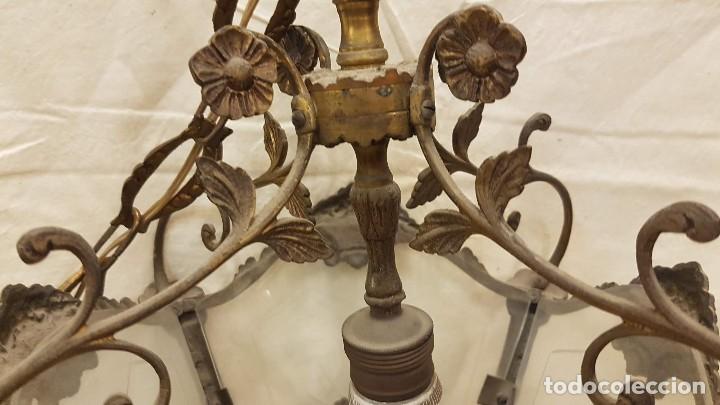 Antigüedades: FAROL TECHO CRISTAL Y METAL - Foto 6 - 209198787