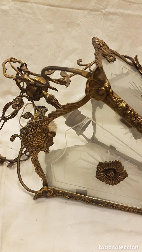 Antigüedades: FAROL TECHO CRISTAL Y METAL - Foto 10 - 209198787