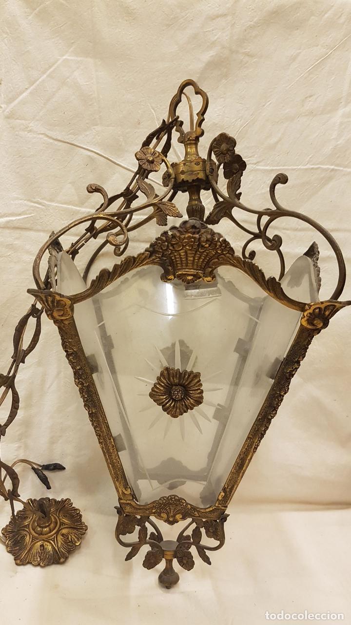 FAROL TECHO CRISTAL Y METAL (Antigüedades - Iluminación - Faroles Antiguos)