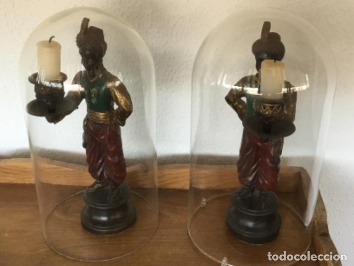 Antigüedades: PORTAVELAS. CANDELABROS. INDIOS. BRONCE. MACIZOS. CUBIERTOS POR FANALES. OPCIONAL. FOTOS.BECARA - Foto 10 - 209256835