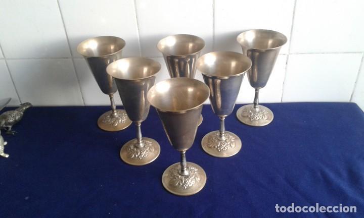 JUEGO 6 COPA DE ALPACA VENECIA MEDIDAS 18X9 CM. (Antigüedades - Hogar y Decoración - Copas Antiguas)