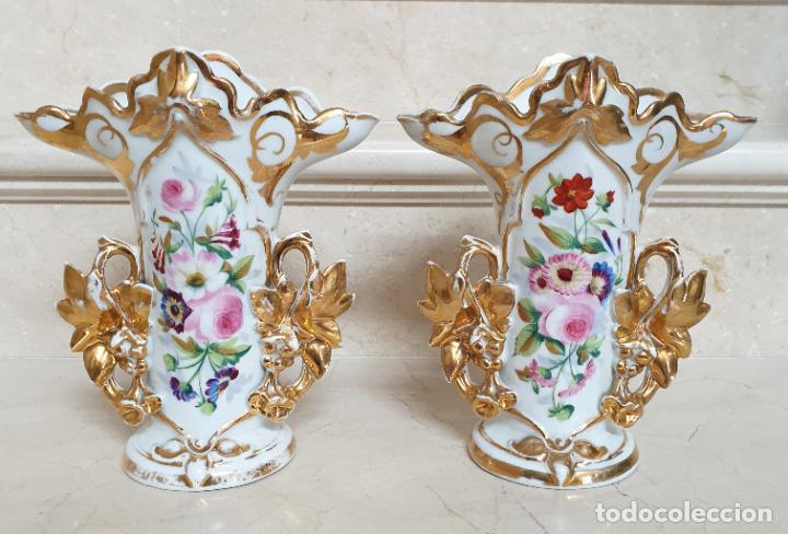 Antigüedades: MARAVILLOSA PAREJA DE JARRONES EN PORCELANA DE VIEJO PARIS,S. XIX - Foto 11 - 209560703
