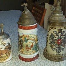 Antigüedades: 3 JARRAS DE CERVEZA ANTIGUAS.. Lote 209580656