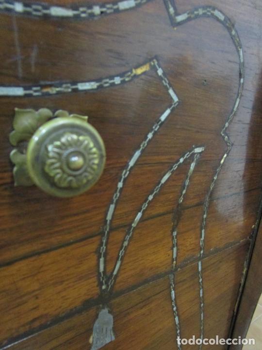 Antigüedades: Cómoda Isabelina - Madera Jacarandá - Marquetería en Zinc - Mármol - S. XIX - Foto 10 - 247818660
