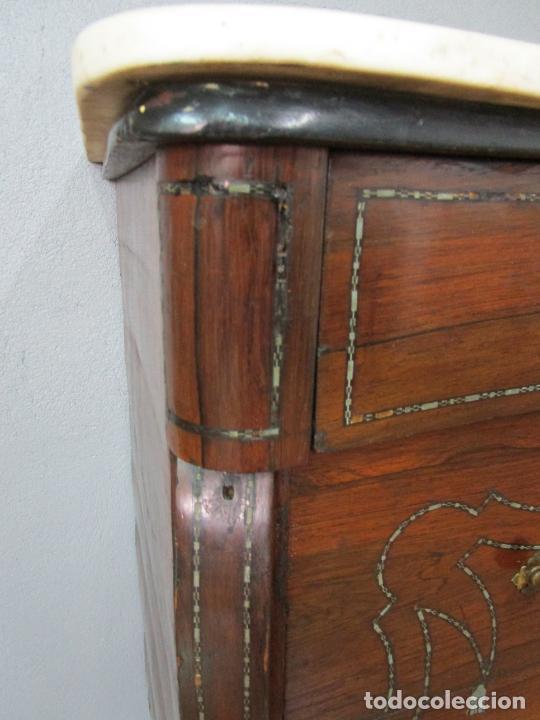 Antigüedades: Cómoda Isabelina - Madera Jacarandá - Marquetería en Zinc - Mármol - S. XIX - Foto 14 - 247818660