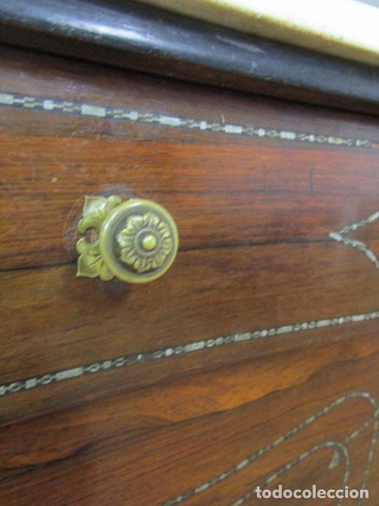 Antigüedades: Cómoda Isabelina - Madera Jacarandá - Marquetería en Zinc - Mármol - S. XIX - Foto 17 - 247818660