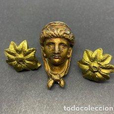 Antigüedades: ADORNO PARA MUEBLE ANTIGUO. REMACHES. CABEZA. 3,8 CM ALTO. FLORES 2,5 DIÁMETRO.. Lote 209615422