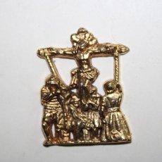 Antigüedades: EL CALVARIO DE JESUCRISTO EN PEQUENAS MEDALLAS DORADAS DE METAL. Lote 209631480