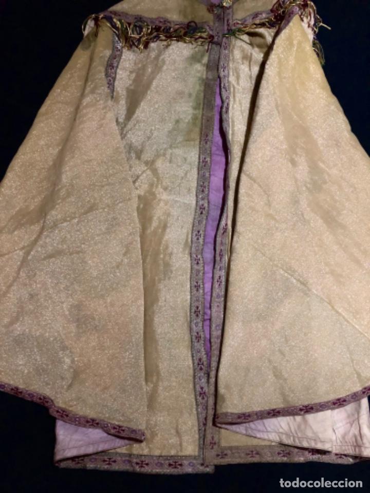 Antigüedades: Capa pluvial tisú de oro francesa bordada en oro - Foto 9 - 209671141