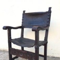 Antigüedades: ANTIGUO SILLÓN FRAILERO - MADERA DE NOGAL - SIGLO XVI. Lote 209714036