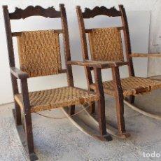 Antigüedades: PAREJA DE MECEDORAS DE MORERA. Lote 209735725