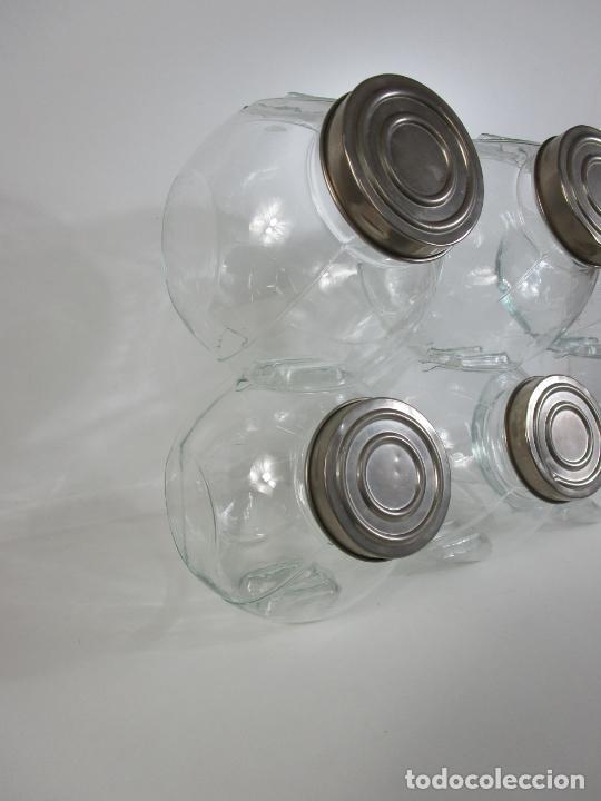 Antigüedades: Carameleros, Bomboneras - Cristal Redondo, Apilable - Tapón Metálico - de Antigua Tienda, Confitería - Foto 6 - 209740163