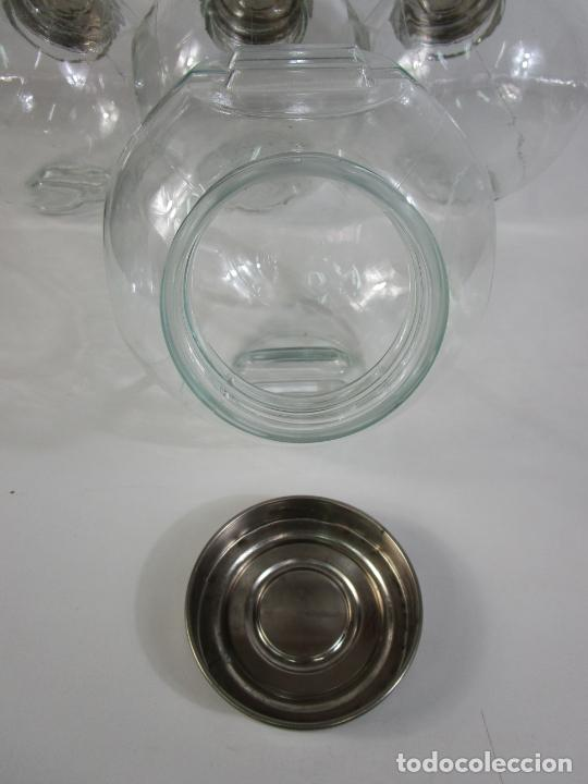 Antigüedades: Carameleros, Bomboneras - Cristal Redondo, Apilable - Tapón Metálico - de Antigua Tienda, Confitería - Foto 14 - 209740163