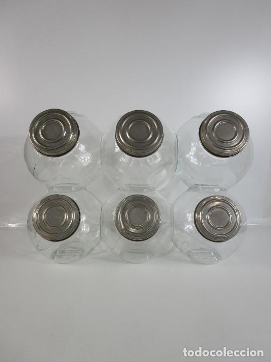CARAMELEROS, BOMBONERAS - CRISTAL REDONDO, APILABLE - TAPÓN METÁLICO - DE ANTIGUA TIENDA, CONFITERÍA (Antigüedades - Cristal y Vidrio - Otros)