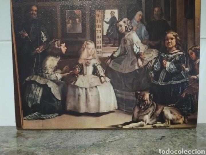 Antigüedades: Cuadro madera muy original. Comprado en el siglo XX. Reproducción de las Meninas. - Foto 2 - 209768955