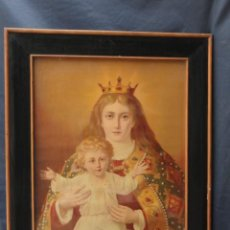 Antigüedades: CUADRO LÁMINA ANTIGUA ENMARCADA - VIRGEN CON NIÑO JESUS -.. Lote 209780333