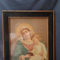 Antigüedades: CUADRO LÁMINA ANTIGUA ENMARCADA - VIRGEN CON NIÑO JESUS -.. Lote 209780673