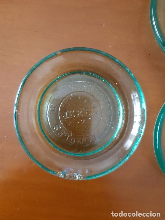 Antigüedades: LOTE DE 7 PLATITOS DE VIDRIO CE. VERRERIES ESPAGNOLES, JEREZ. 8 CMS. DE DIÁMETRO. - Foto 3 - 209787885