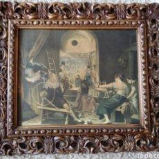 Antigüedades: MARCO ANTIGUO CON LAMINA LAS HILANDERAS VELAZQUEZ. Lote 209876296