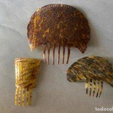 Antigüedades: LOTE DE 3 PEINAS , PEINETAS DE CELULOIDE SIMIL CAREY , UNA DE ELLAS 28 X 28 CM. ANTIGUAS. Lote 209905370