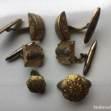 Antigüedades: 6 GEMELOS DAMASQUINADOS - 3 PAREJAS -. Lote 209911658