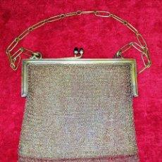 Antigüedades: BOLSO DE DAMA EN MALLA DE PLATA. CRISTALES. ESPAÑA. SIGLOS XIX-XX. Lote 209924693