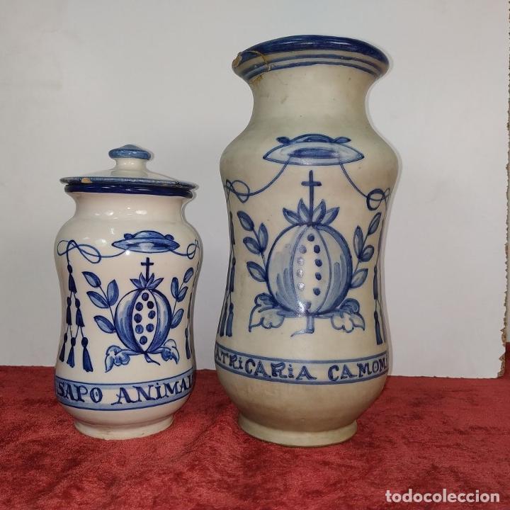 Antigüedades: 2 ALBARELOS. CERÁMICA ESMALTADA. CON MARCAS DE TALAVERA Y PUENTE ARZOBISPO. ESPAÑA SIGLO XX - Foto 3 - 209928147