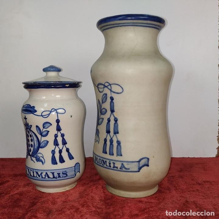 Antigüedades: 2 ALBARELOS. CERÁMICA ESMALTADA. CON MARCAS DE TALAVERA Y PUENTE ARZOBISPO. ESPAÑA SIGLO XX - Foto 4 - 209928147