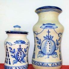 Antigüedades: 2 ALBARELOS. CERÁMICA ESMALTADA. CON MARCAS DE TALAVERA Y PUENTE ARZOBISPO. ESPAÑA SIGLO XX. Lote 209928147