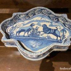 Antigüedades: DE MUSEO INUSUAL BANDEJA EN CERÁMICA DE TRIANA (SEVILLA ) SIGLO A-XVIII. Lote 209982948