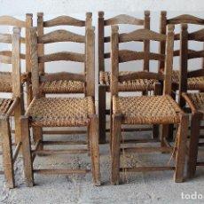 Antigüedades: JUEGO DE 8 SILLAS ANTIGUAS DE MORERA. Lote 209998627